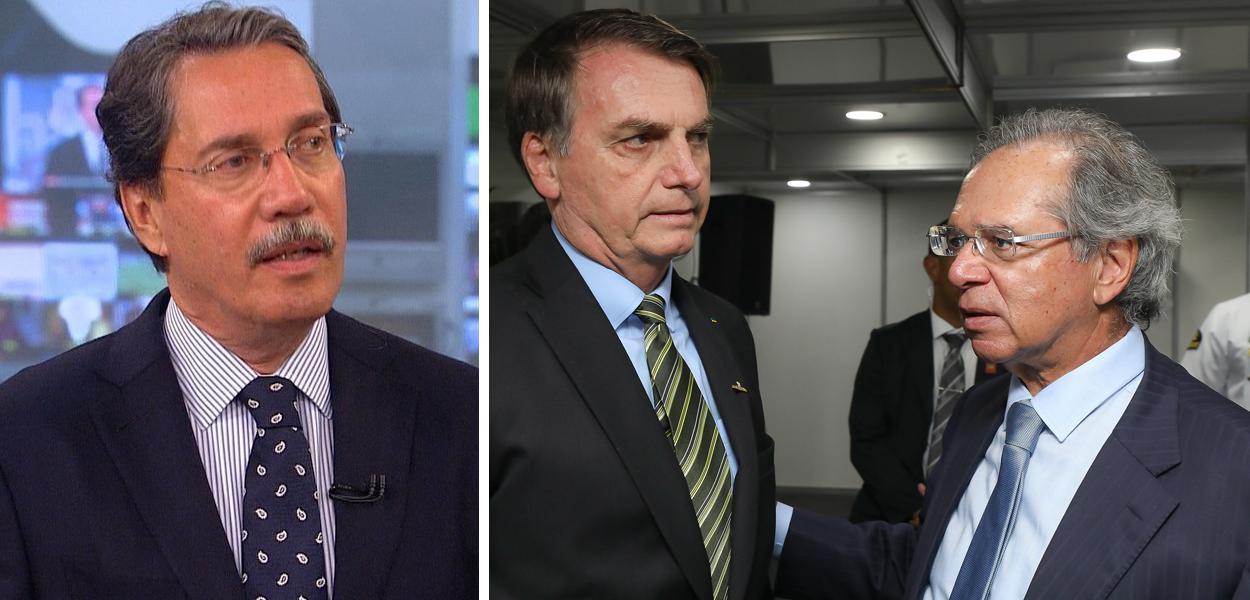 Merval Pereira e Jair Bolsonaro com Paulo Guedes