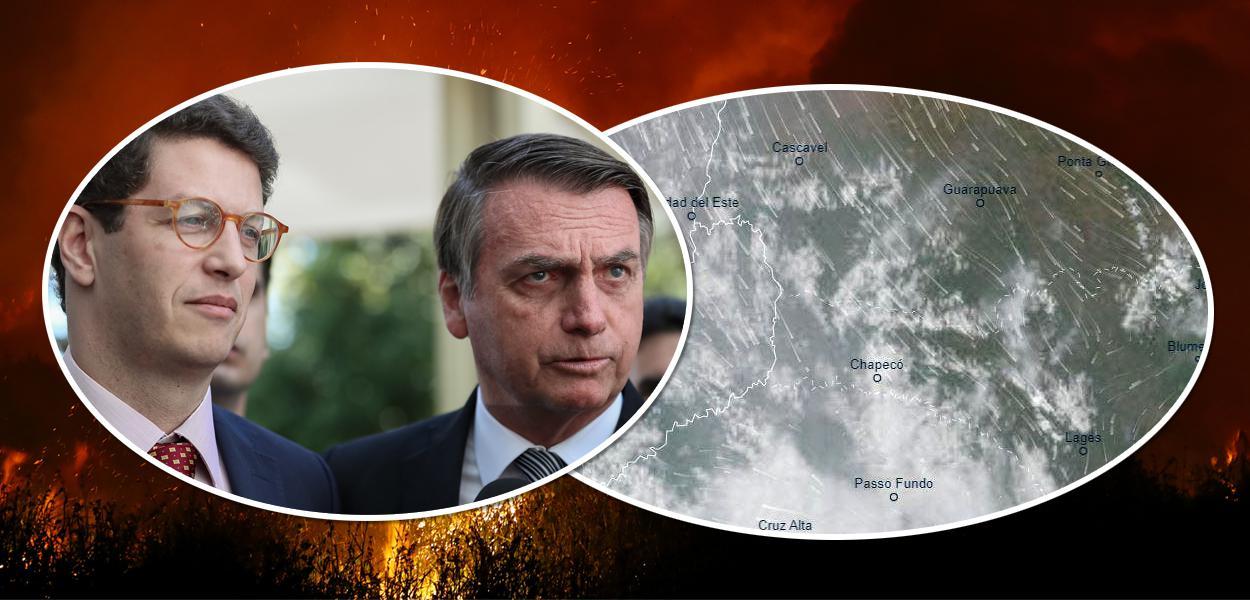 Ricardo Salles com Bolsonaro e imagem de satélite mostrando fumaça em Santa Catarina