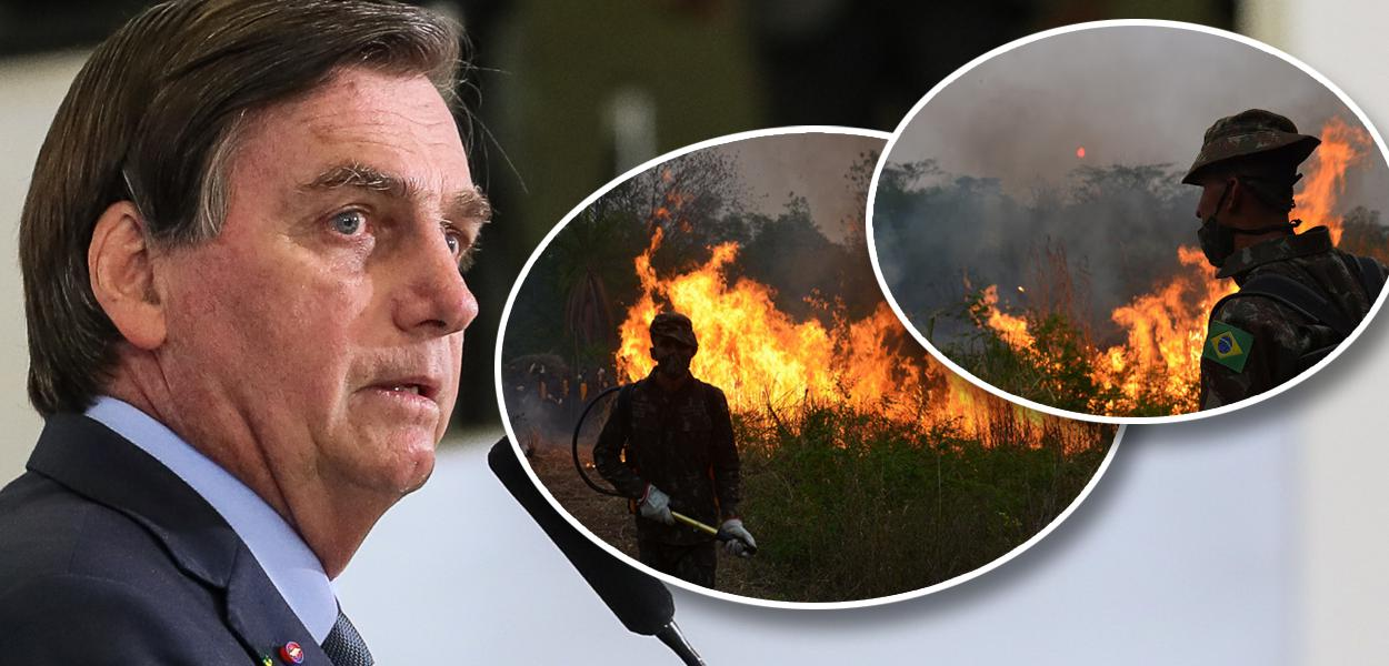 Jair Bolsonaro e militares apagando foto no Pantanal