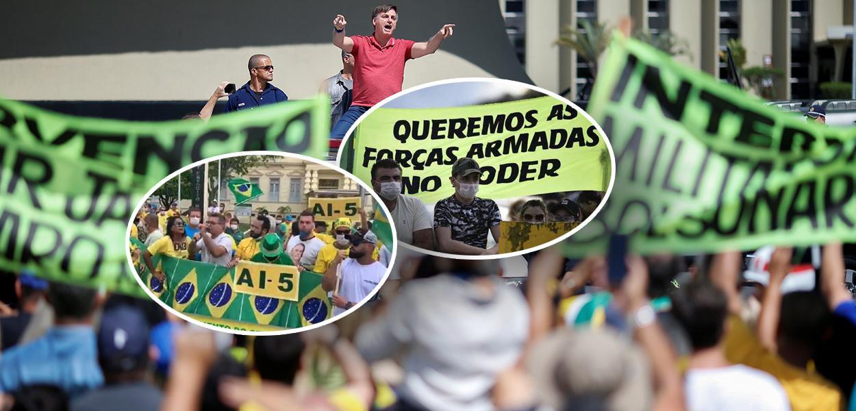 Bolsonaro discursa em ato, em Brasília, em que manifestantes pediam intervenção militar