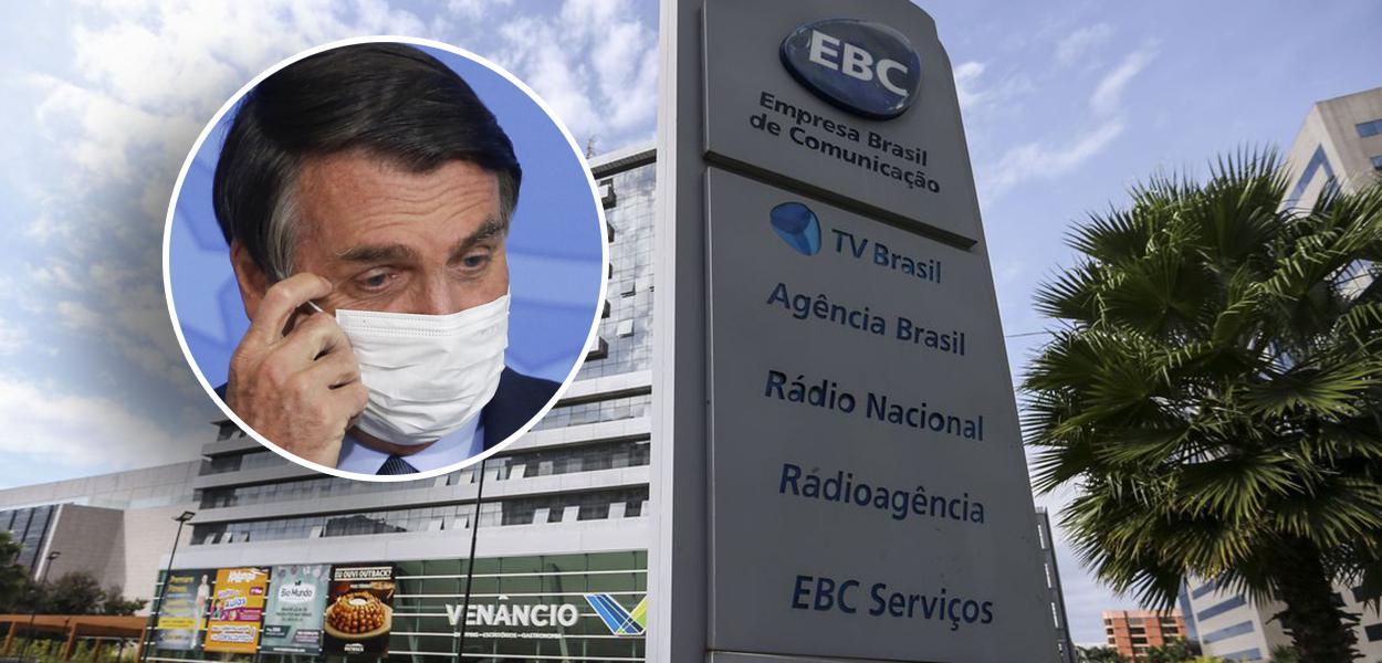 Jair Bolsonaro e fachada da EBC