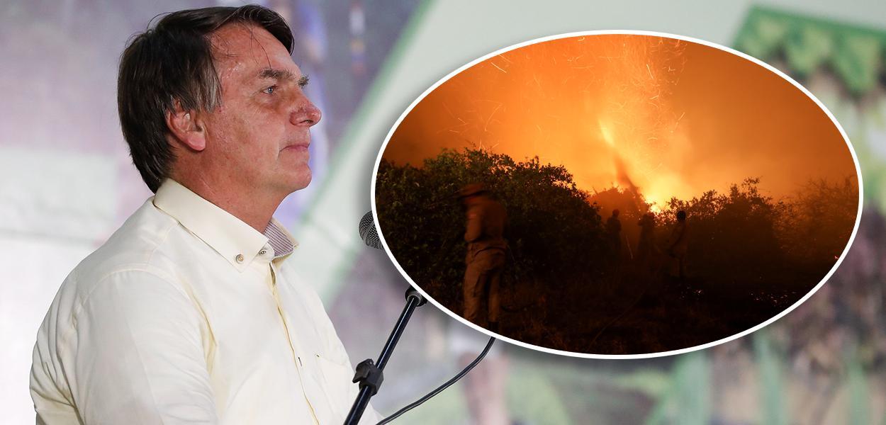 Jair Bolsonaro e queimada no Pantanal