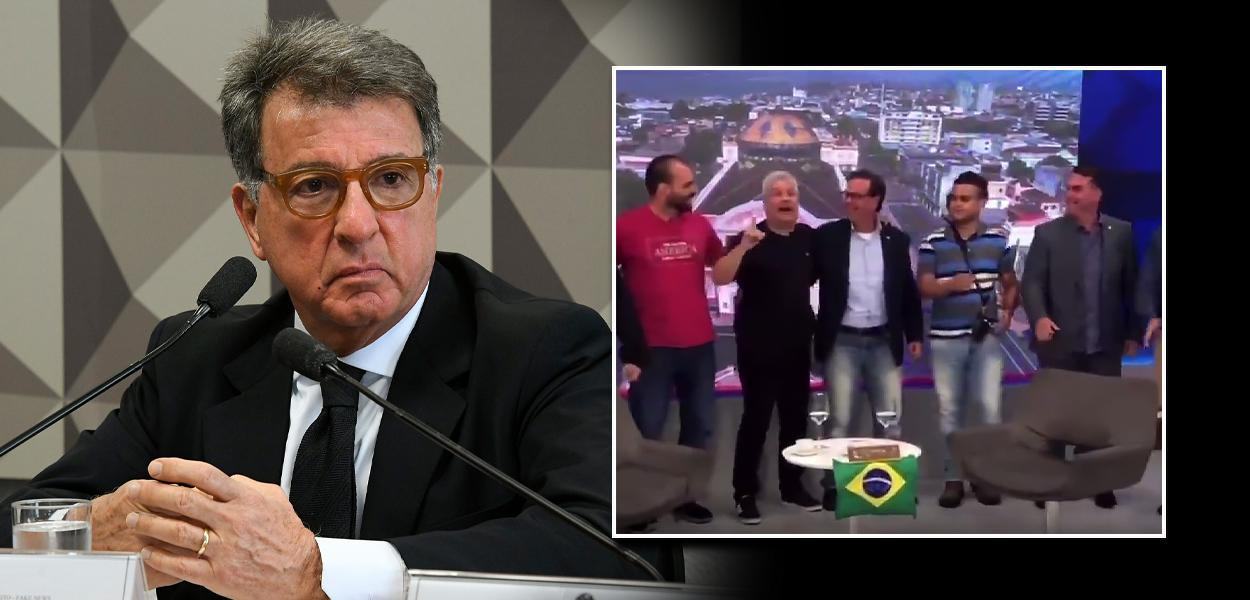 Paulo Marinho e Flávio Bolsonaro dançando com Sikêra Jr