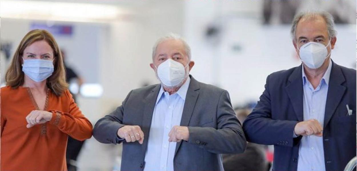 Gleisi Hoffmann, Lula e Aloizio Mercadante