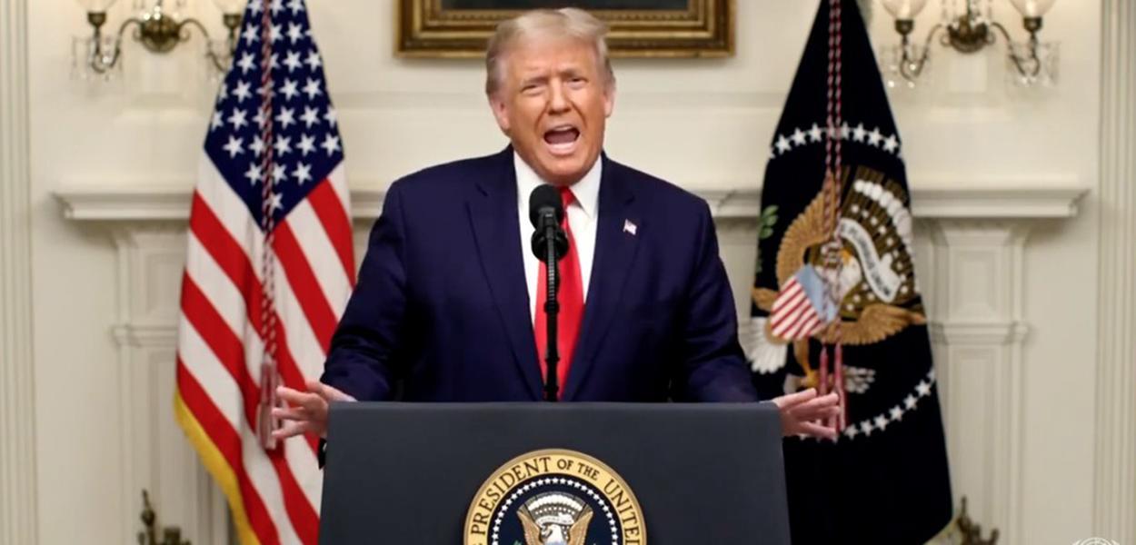 Trump em seu discurso na Assembleia Geral da ONU