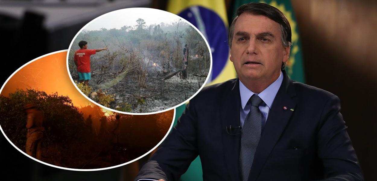 Queimadas e Jair Bolsonaro discursando na ONU
