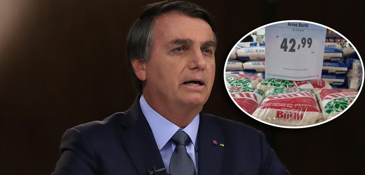 Bolsonaro discursando na ONU e preço do arroz