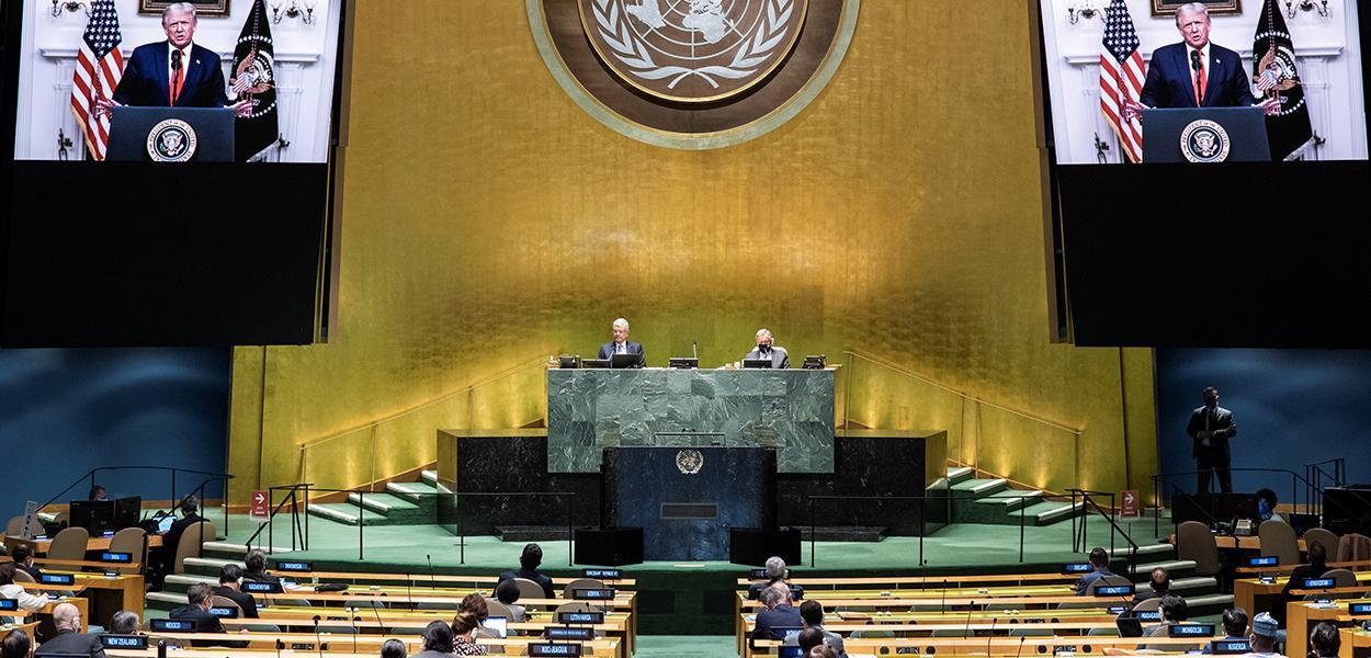 Plenário da Assembleia-Geral da ONU durante discurso gravado do presidente dos EUA, Donald Trump 22/09/2020