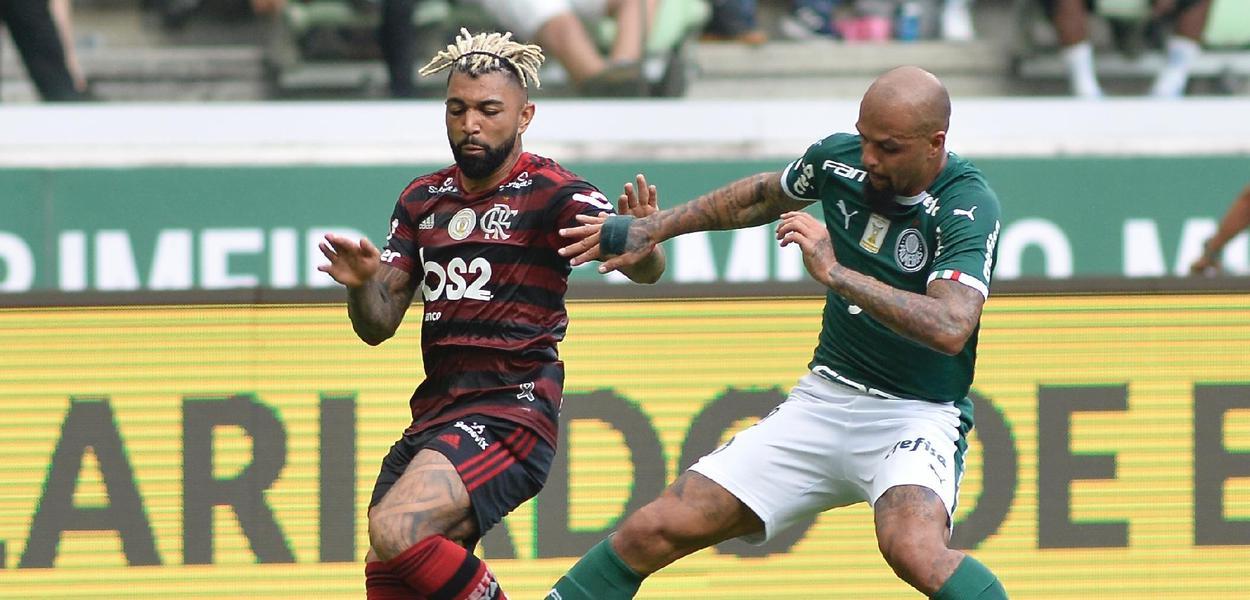 Gabigol (Flamengo) e Felipe Melo (Palmeiras)