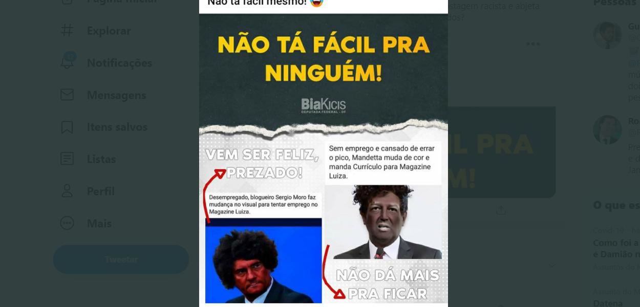 Postagem racista de Bia Kicis