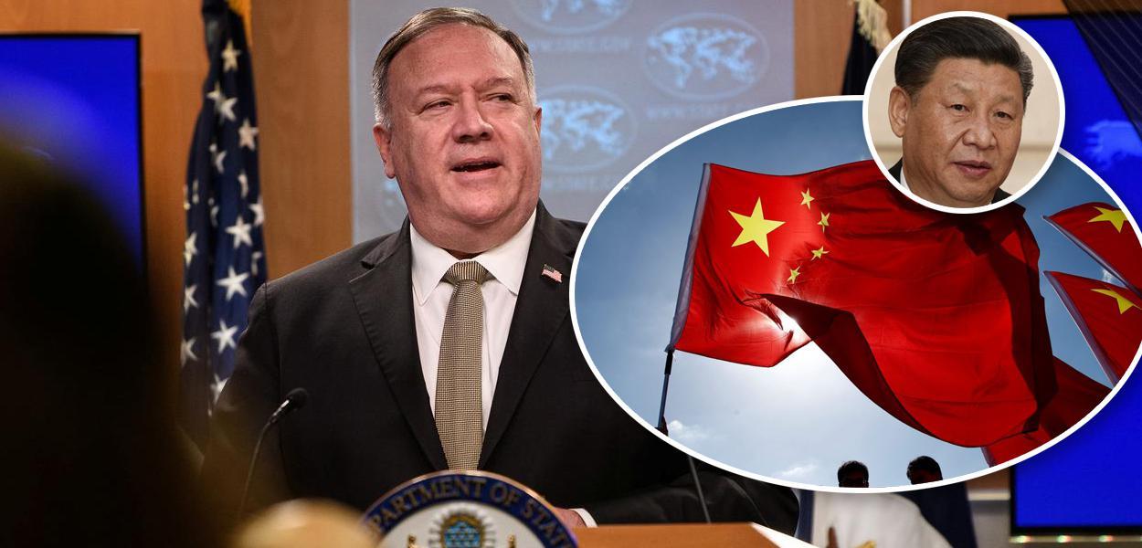 Mike Pompeo, bandeira da China e Xi Jinping