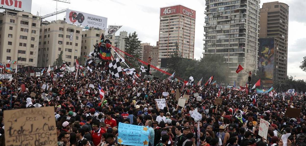 """Ato foi apelidado de """"a maior marcha do Chile"""""""