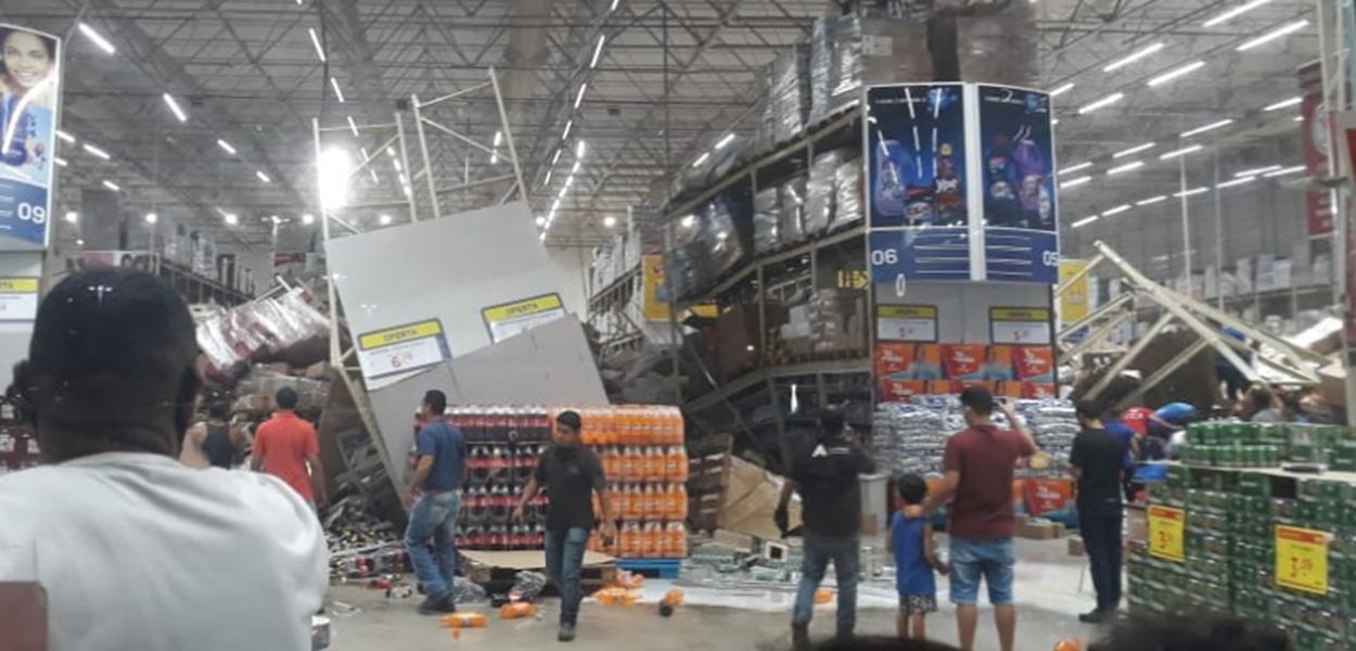 Prateleiras desabam e geram pânico em atacado de São Luís (MA)