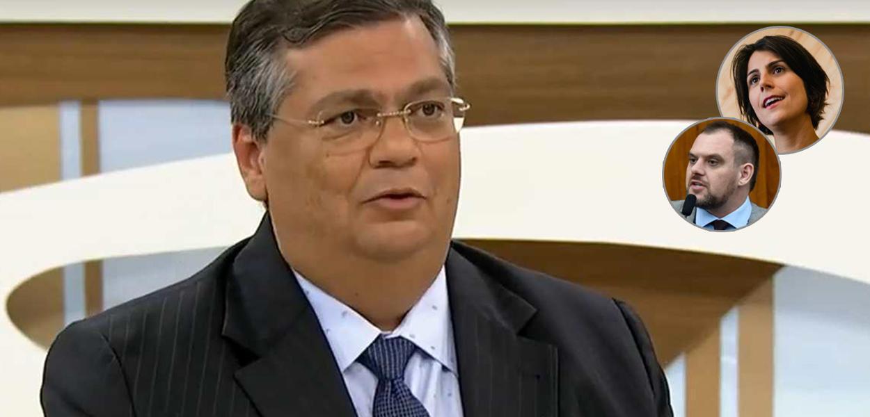 Flávio Dino, governador do MA, e os candidatos à Prefeitura de Porto Alegre Rodrigo Maroni (PROS) e Manuela D'Ávila (PCdoB)