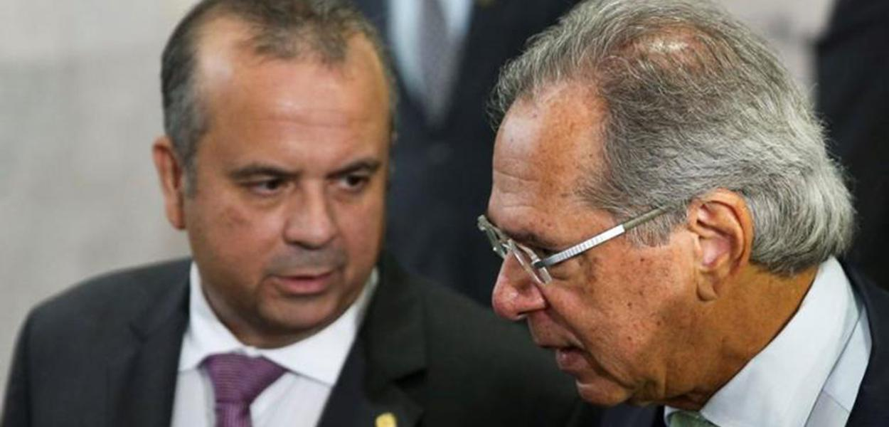 Ministros Rogério Marinho (Desenvolvimento Regional) e Paulo Guedes (Economia)