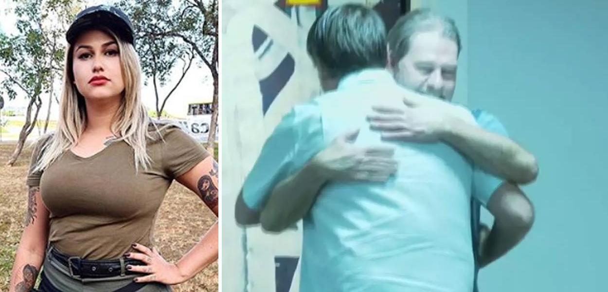 Sara Winter e Bolsonaro abraçando Dias Toffoli