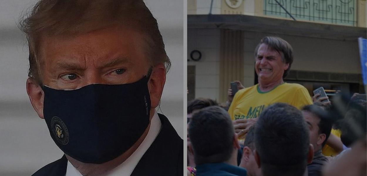 Trump com covid e facada de Bolsonaro