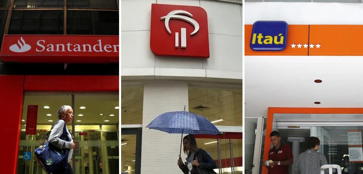 Fachadas dos bancos Santander, Bradesco e Itaú