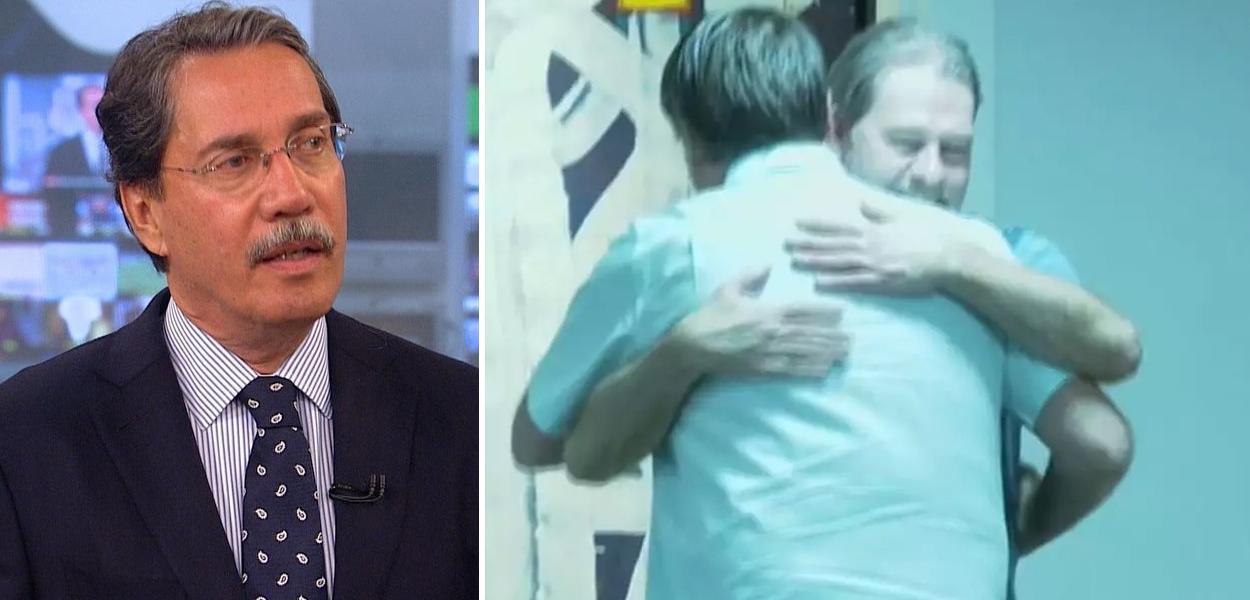 Merval Pereira e Bolsonaro abraçando Dias Toffoli