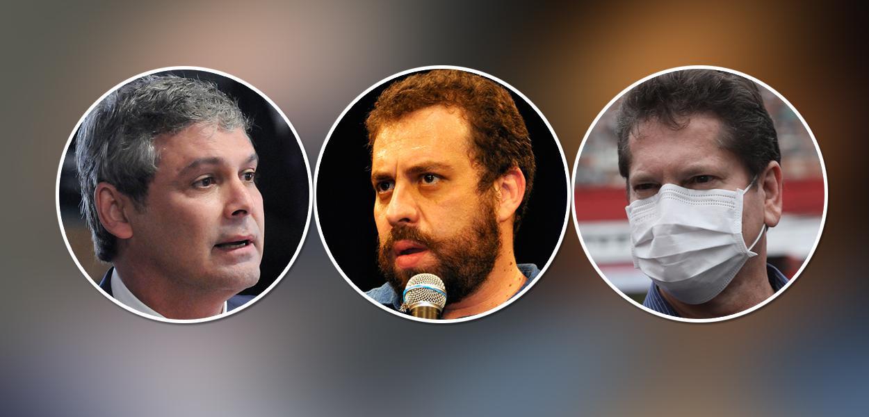Lindbergh Farias, Guilherme Boulos e Jilmar Tatto