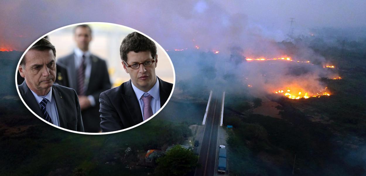 Bolsonaro com Ricardo Salles e incêndios florestais na BR 262 e estrada Parque no Pantanal