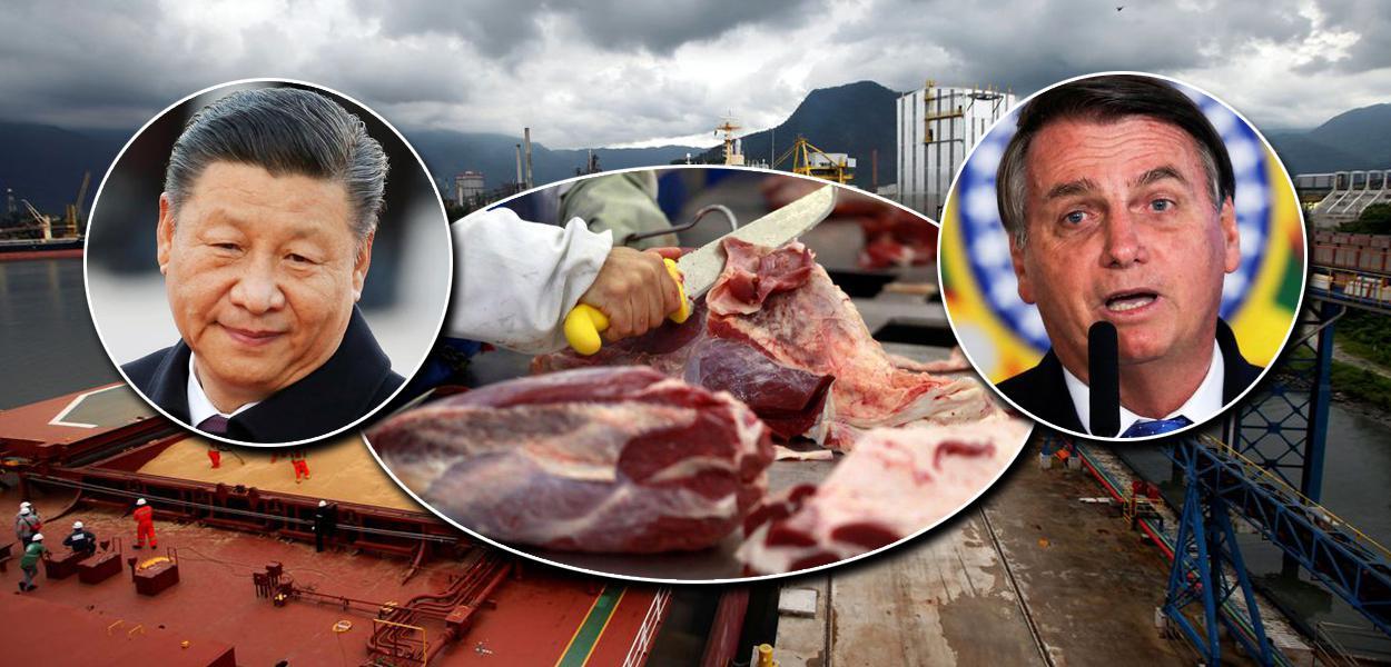 China detecta novamente vestígios de coronavírus em alimentos brasileiros; presidente chinês, Xi Jinping, e Jair Bolsonaro