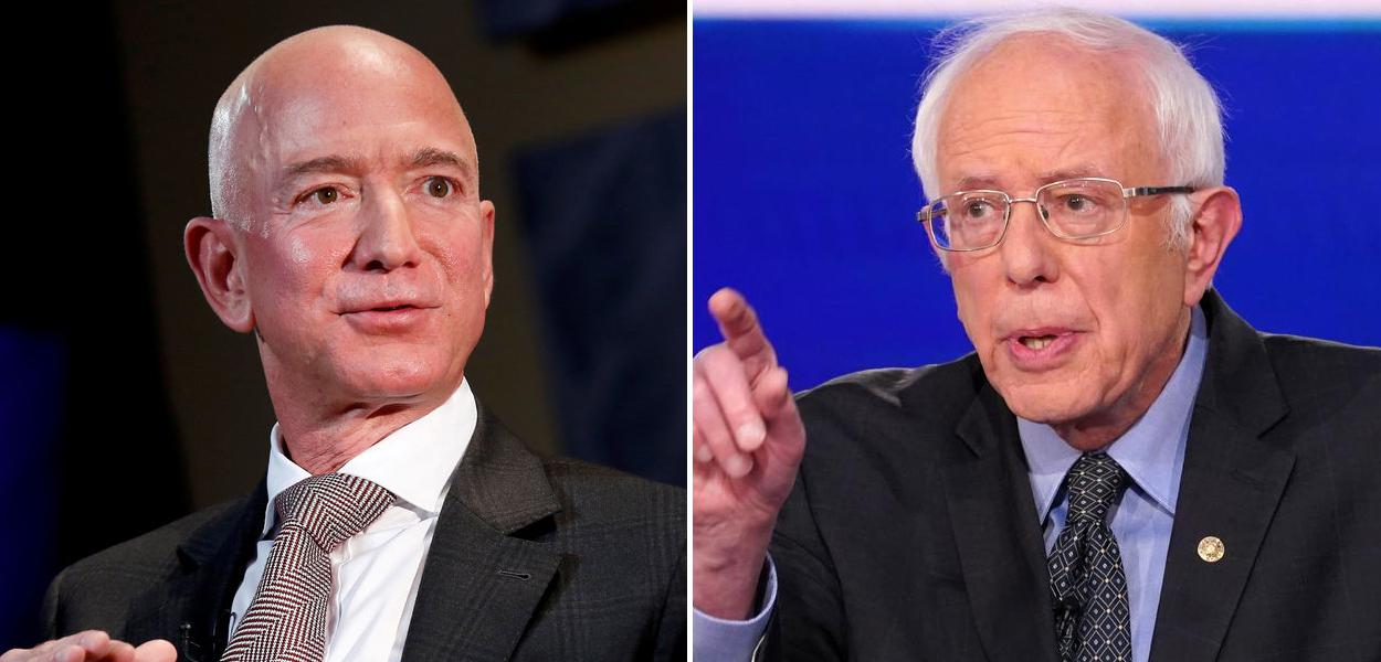 Jeff Bezos e Bernie Sanders