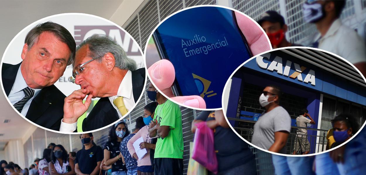 Jair Bolsonaro com Paulo Guedes, aplicativo do auxílio emergêncial e fachada da Caixa Econômica