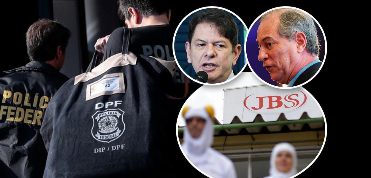 Polícia Federal, Cid e Ciro Gomes e fachada da JBS