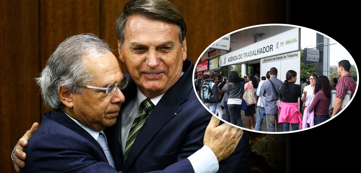 Paulo Guedes com Jair Bolsonaro e fila em agência de emprego
