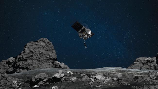 Ilustração da descida da sonda Osiris-Rex em Bennu