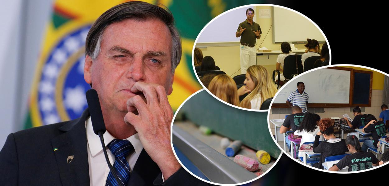 Bolsonaro e professores em sala de aula