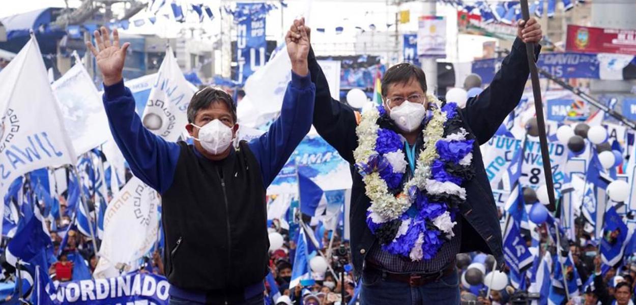Bolívia – Festa da vitória do presidente eleito, Luís Arce, do MAS (partido de Evo Morales). 19 de outubro de 2020