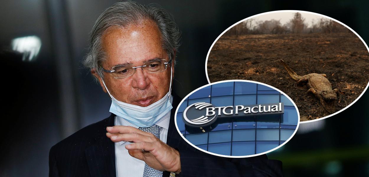 Paulo Guedes, Pantanal queimado e fachada do BTG Pactual