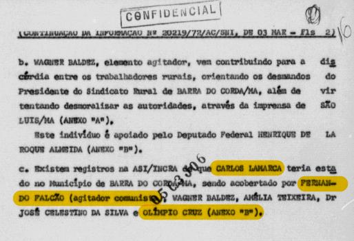 Trecho do relatório que cita a presença de Lamarca na região e a atuação de Fernando Falcão e Olímpio Cruz.