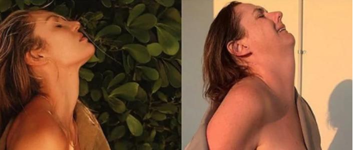 A imagem original de Candice Swanepoel e a paródia de Celeste Barber