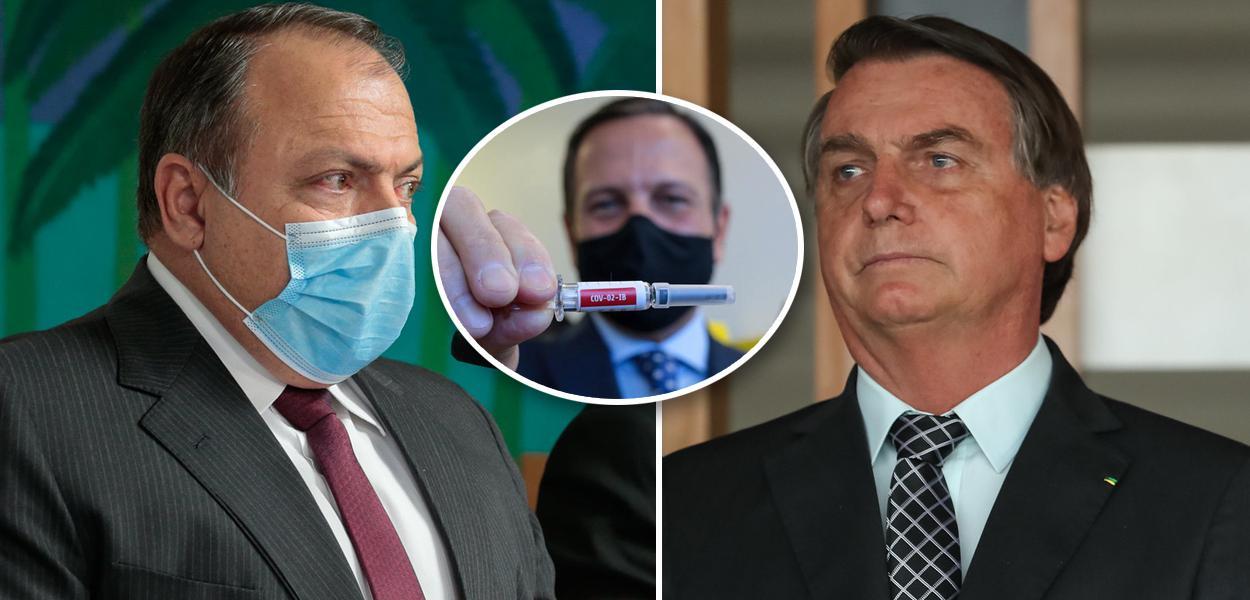 Pazuello, Doria segurando Coronavac e Bolsonaro