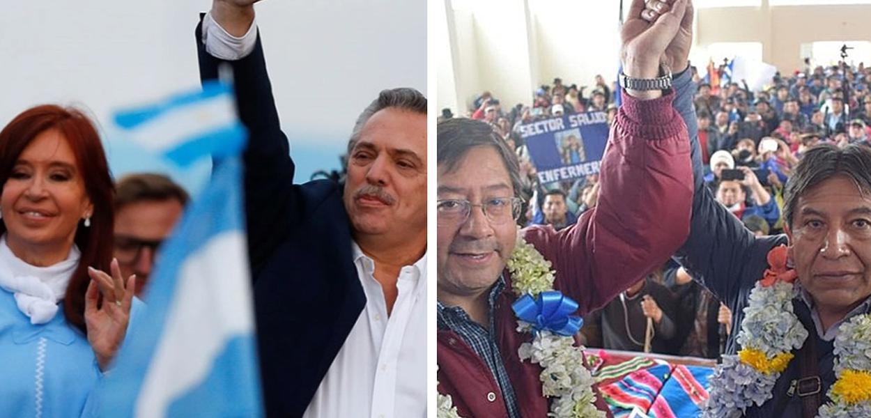 Vice Cristina kirchner, ao lado do presidente argentino, Alberto Fernández, e Luis Arce, eleito presidente da Bolívia, junto com seu vice, David Choquehuanca