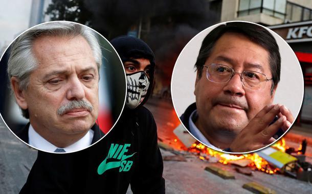 Alberto Fernández, presidente, Luis Arce, eleito presidente da Bolívia, e ao fundo protesto contra o governo chileno de Sebastián Piñera