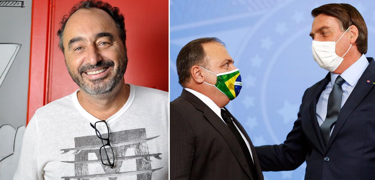 Renato Rovai, Eduardo Pazuello e Jair Bolsonaro