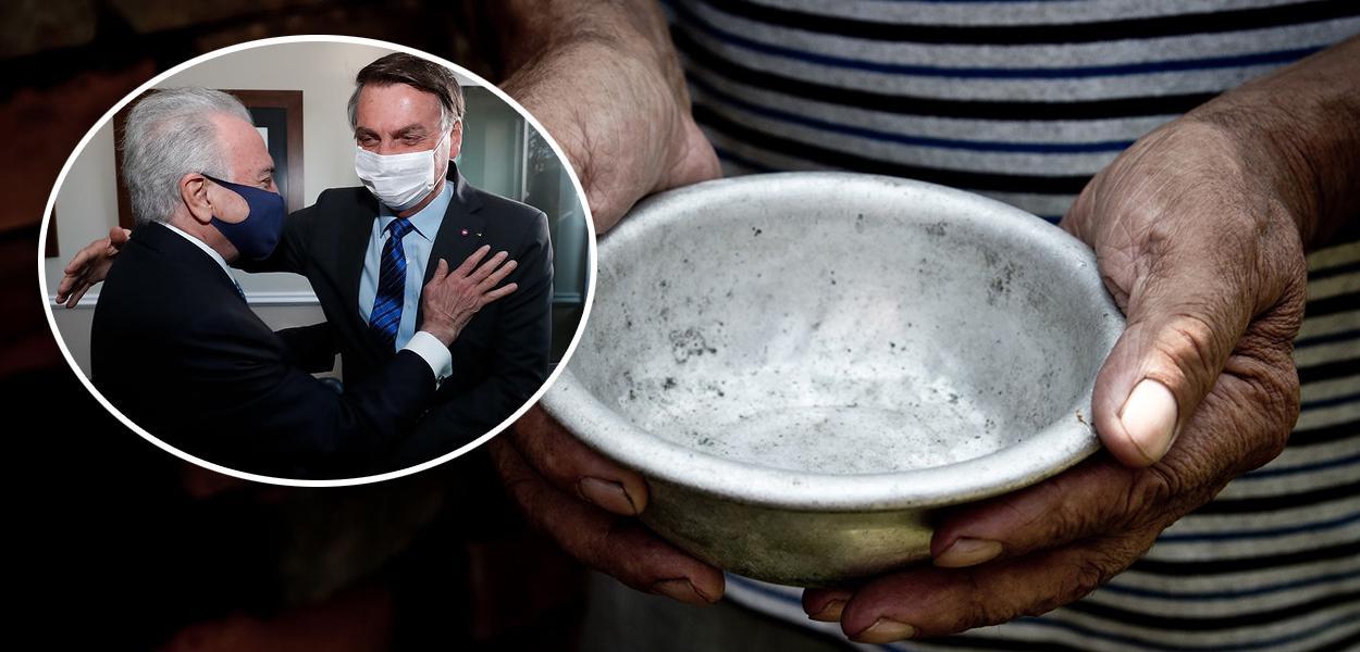 Temer com Bolsonaro e prato de comida vazio