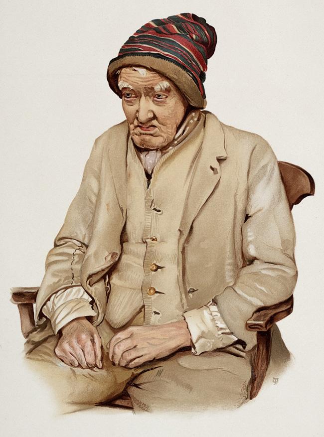Velho em estado de demência