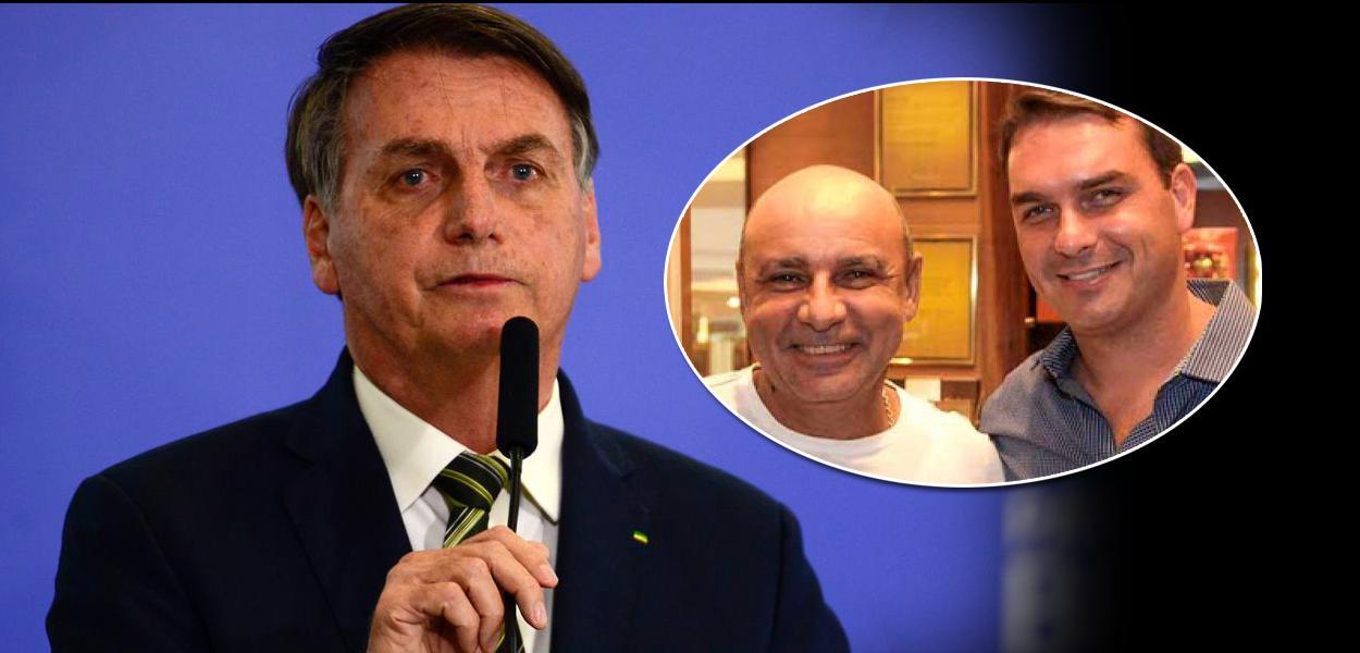 Jair Bolsonaro, Fabrício Queiroz e Flávio Bolsonaro