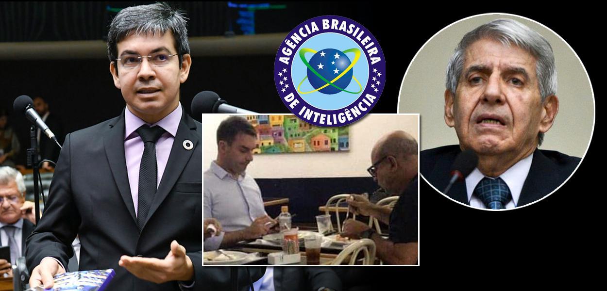 Randolfe Rodrigues, Flávio Bolsonaro, Fabrício Queiroz e o ministro Augusto Heleno (GSI)