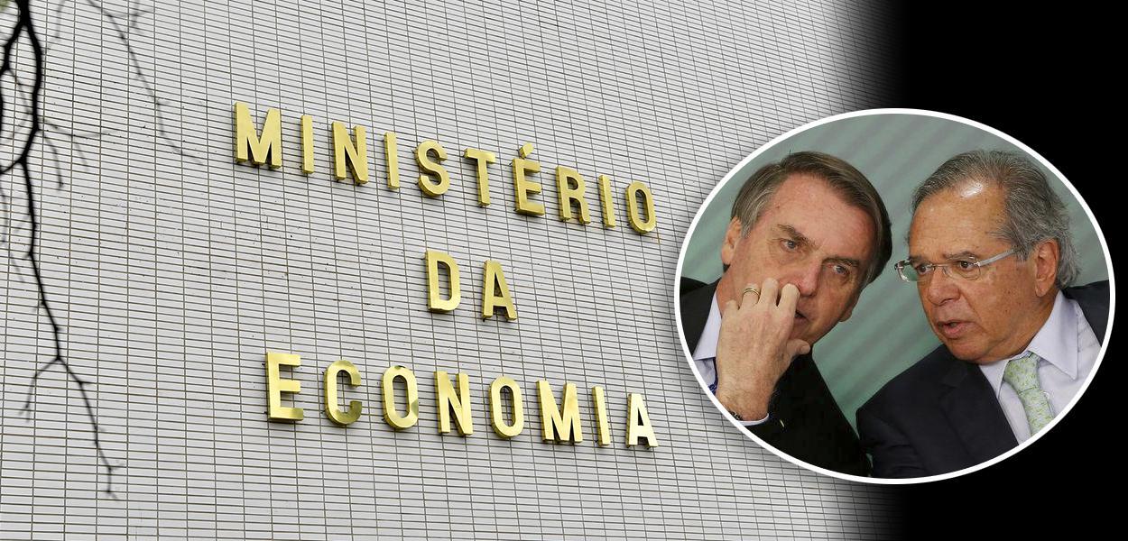 Fachada do Ministro da Economia e Bolsonaro com Paulo Guedes