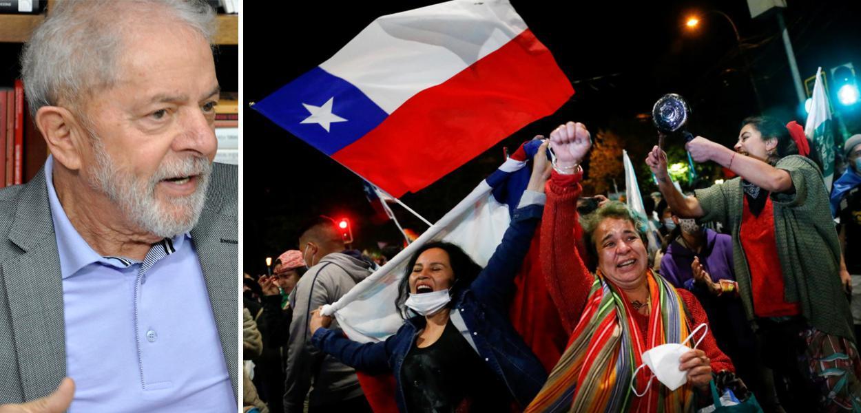 Lula e chilenos comemorando vitória nas ruas