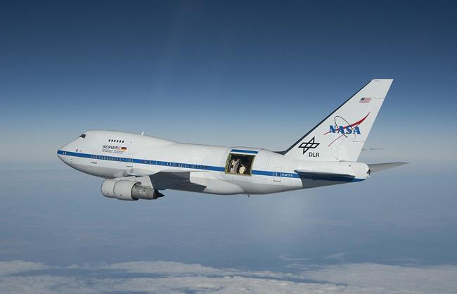 O avião-telescópio Sofia, da Nasa.