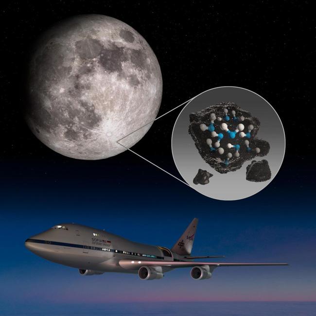 Lua e o Telescópio-avião Sofia (Ilustração)