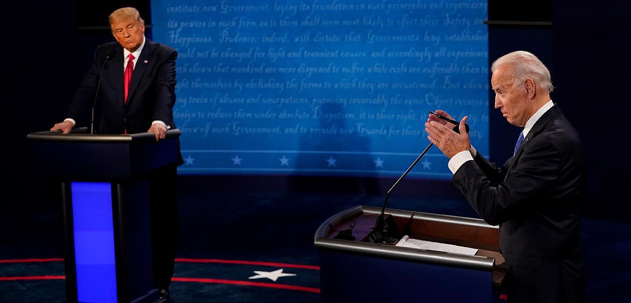 Trump e Biden participam do último debate presidencial destas eleições. 22/10/2020