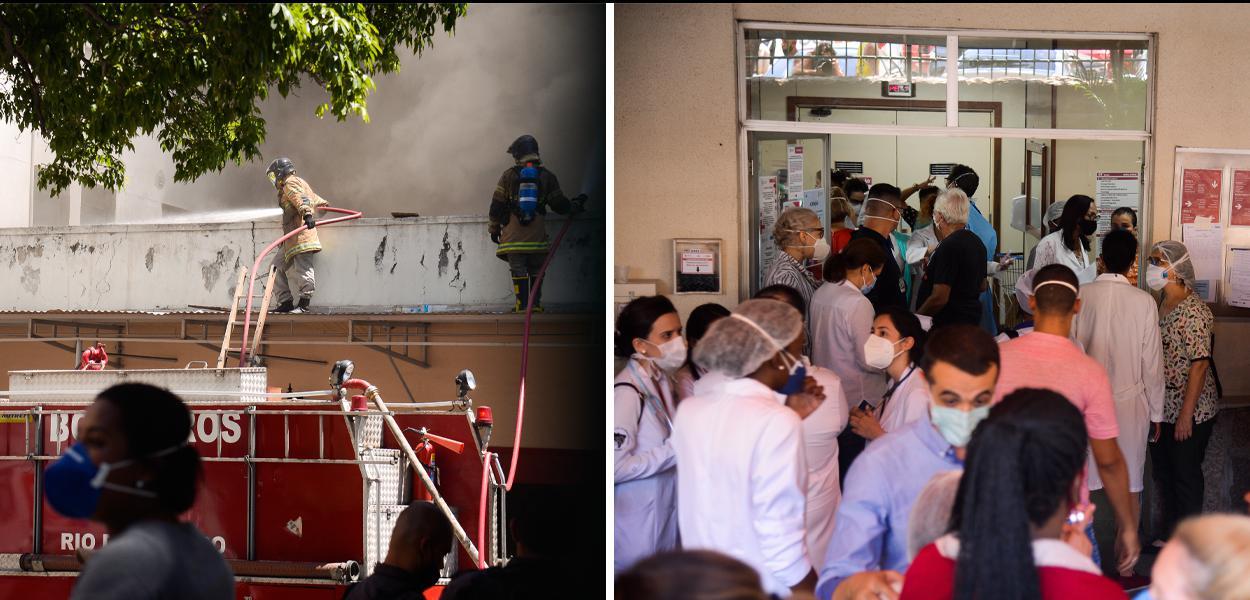 Pacientes de Hospital Federal de Bonsucesso são transferidos às pressas após incêndio.